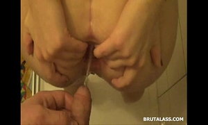 Amatuer brunette hair fills her a-hole with a large sex tool and piddle
