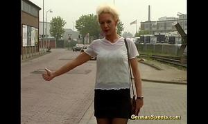 Blonde german is screwed in car washing