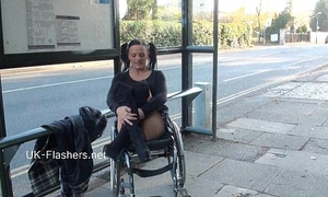 Paraprincess outdoor exhibitionism and flashing wheelchair tied chick showing