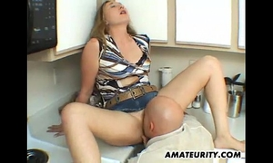 Amateur slutty wife sucks and copulates in her kitchen