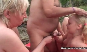 Slutty golden-haired acquires tempted by lewd older pair