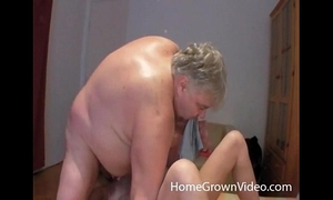 Fat old fellow rimmed and deepthroated by sexy milf