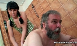 Sexy hottie receives naughty with lewd grandpapa