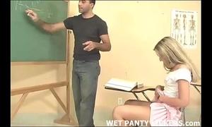 Hot teacher makes this schoolgirls pants moist