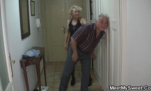 She is tricked into threesome by his old parents