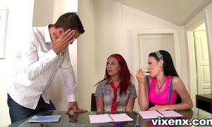 Two horny nubiles give english teacher oral-sex