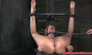 Mouth gagged slut being caned