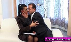 Clothed businesswomen oral-sex