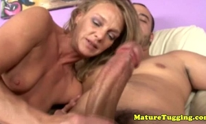 Blonde cougar mamma tugging his hard shlong