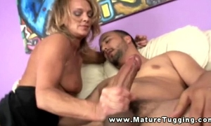 Mature cook jerking golden-haired milf tugs