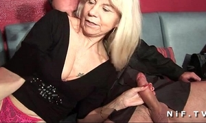 French aged in nylons acquires double permeated in a swinger club
