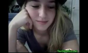 Hot blond legal age teenager masturbating on livecam