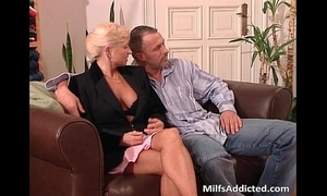 Two lascivious milf blondes receives muff