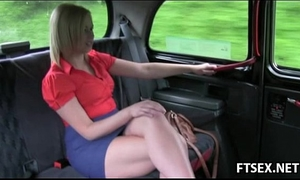 Blonde sweetheart acquires fisted in the taxi