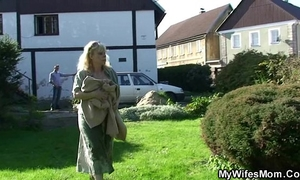 Granny rides her son-in-law dick outdoor
