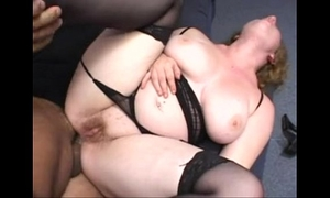 Chubby redhead screwed in the arse wearing a belt