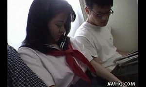 Japanese legal age teenager in school uniform has 3some uncensored