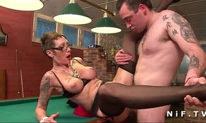 Big boobed french mature with tattoo's acquires gangbanged