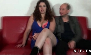 Chubby french non-professional brunette hair hard screwed in front of her cuckhold spouse