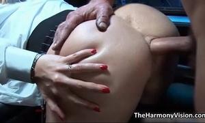 Busty blond slut acquires her butt
