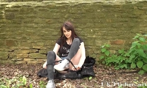 Daring public flasher and outdoor non-professional chick exposing firm bra buddies and hairless