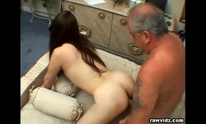 Teen elisa rides old dude's pecker