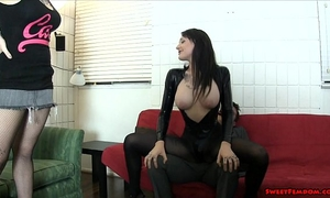 Goth playgirl and hawt ally ballbusting face sitting lesbian babes