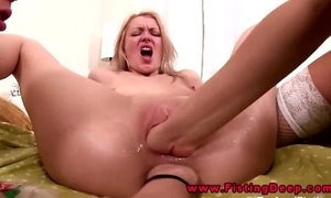 Lesbian three-some includes anal fisting in their gapping holes