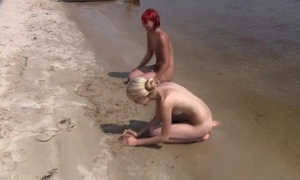 Candid exposed nudist teenager wazoo on the public beach