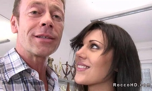 Hot dark brown scarlet a acquires anal drilled from behind on ottoman