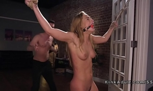 Bound girlfriend flogged and anal drilled