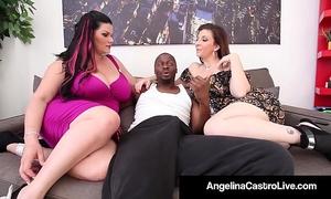 Cuban queen angelina castro & sara jay blow a large dark knob