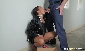 Chocolate skin bomshell takes on massive white cock