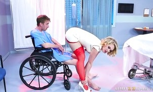 Smoking hot nurse demonstrates her excellent cock sucking skills