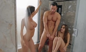 Nice threesome shower family cock games with boyfriend
