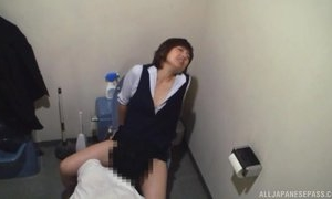 Asian secretary in uniform pussy licking by her boss