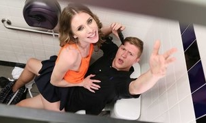 Couple of teens had couple fantasies and were fucking in real hardcore in toilet in front of hidden camera
