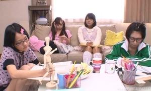Japanese teen girls sucking and fucking hard pecker in turn