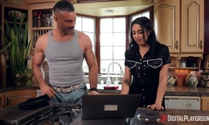 Nasty brunette with natural tits got sodomized in the kitchen