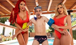 Two horny bitches with big juggs fuck Jordi by the pool
