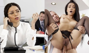 Exotic-looking babe gets fucked hard at her work place