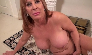 Big titted older mommy on the rug in costume