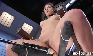 Babe restrained to chair for bawdy cleft toying