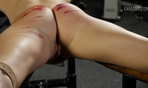 Helpless slutty wife whipped by 2