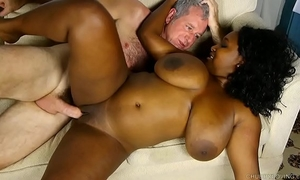 Busty dark bbw likes a hard fucking and a facial spunk fountain