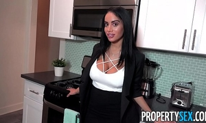 Propertysex - despairing real estate agent with large milk sacks nearly loses sale