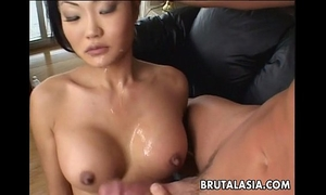 Asian brunette hair slut sucks and receives wazoo screwed real coarse