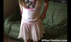 Petite legal age teenager kitty in a cute little pink petticoat