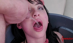 Goth wife fed piddle and butt screwed in the trash