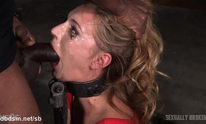 Orgasming beauty has her face messed up in saliva whilst deepthroating